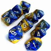 Blue & Gold Gemini D10 Ten Sided Dice Set